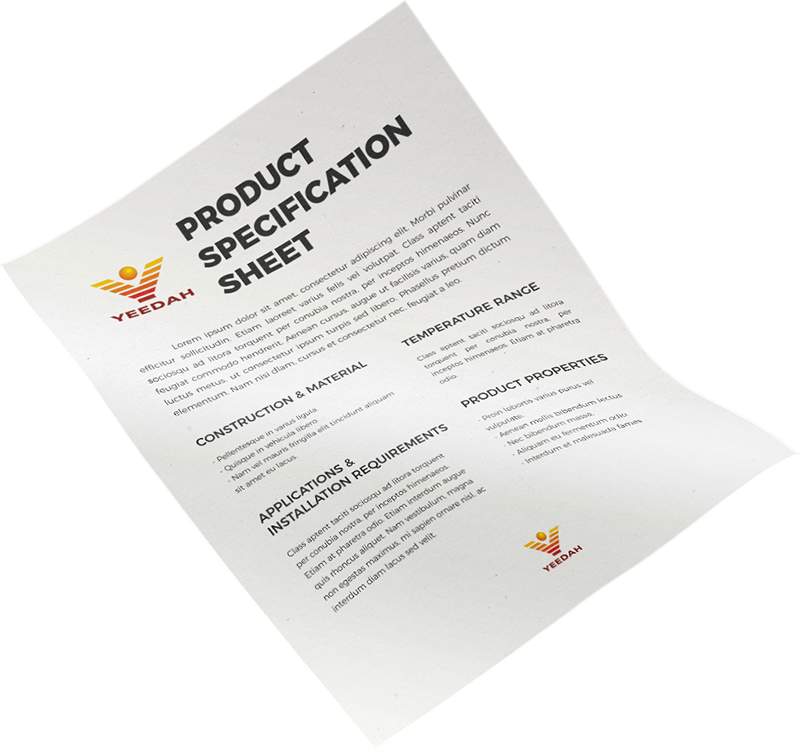 Yeedah Manufacturer Product Specification Sheet